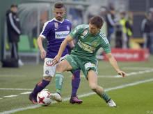 Lucas Venuto (li.) sorgte für die frühe Austria-Führung und verletzte sich danach