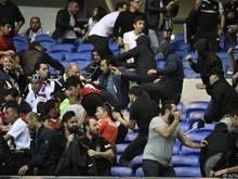 Im Stadion von Lyon kam es zu schweren Ausschreitungen