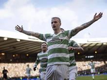 Leigh Griffiths von Celtic feiert seinen Treffer gegen den Stadtrivalen. Foto: Robert Perry