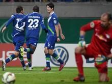 Die Wolfsburger siegten in Leipzig mit 2:0