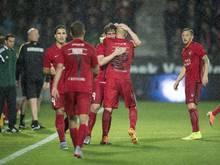 Der FC Midtjylland feiert den Aufstieg gegen Southampton