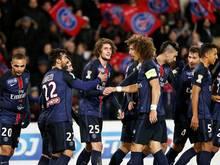 Die Spieler von Paris St. Germain feiern das 1:0 gegen Olympique Lyon