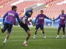 Die russischen Nationalspieler trainieren im Spartak Stadion in Moskau für das Spiel gegen Portugal