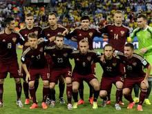 Die russische Startelf vor dem Spiel gegen Südkorea in Cuiaba bei der WM 2014 in Brasilien