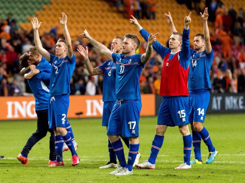 Die Isländer feiern den 1:0-Erfolg in den Niederlanden