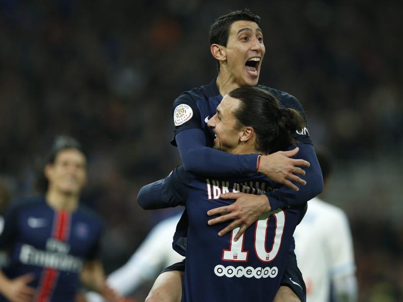 Angel Di Maria (l.) und Zlatan Ibrahimovic erzielten die Tore für Paris