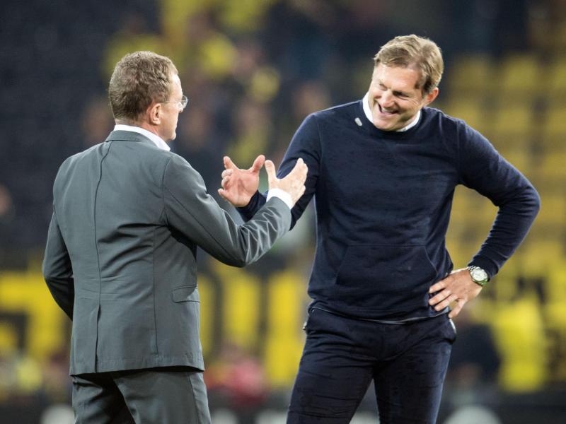 Arbeiten erfolgreich bei RBLeizig: Sportdirektor Ralf Rangnick (l) und Trainer Ralph Hasenhüttl. Foto: Bernd Thissen
