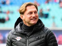 Leipzig-Trainer Ralph Hasenhüttl freut sich, dass es wieder los geht