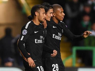 La tripleta titular del PSG: Neymar, Cavani y Mbappé. (Foto: Getty)