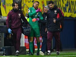 Jan Oblak musste gegen Villareal mit einer Schulterverletzung vom Platz