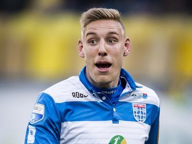 Nicolai Brock-Madsen tijdens Roda JC - PEC Zwolle. (05-04-2017)
