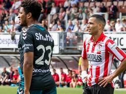 Zakaria el Azzouzi (r.) baalt nadat hij een grote kans om zeep heeft geholpen in de vorige ontmoeting van beide teams. (21-08-2016)