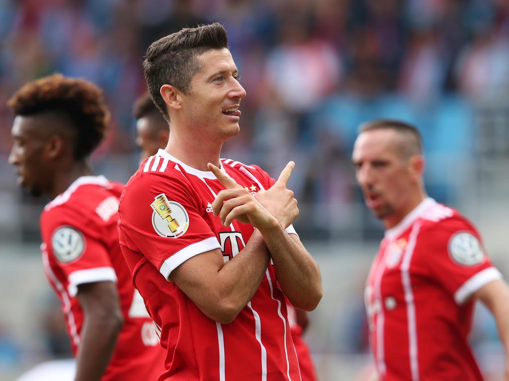 Robert Lewandowski traf gegen Chemnitz doppelt