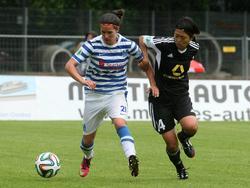 Marina Himmighofen (l.) spielte bereits sieben Jahre für den MSV Duisburg