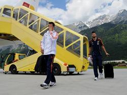 Piqué y Fàbregas llegando a Austria en 2012. (Foto: Getty)