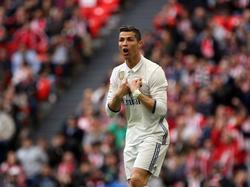 Verbazing bij Cristiano Ronaldo tijdens het competitieduel Athletic Bilbao - Real Madrid (18-03-2017).