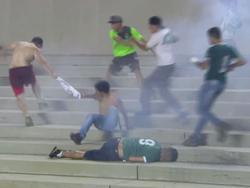 Das Derby zwischen Goiás EC und Vila Nova wurde von Fangewalt überschattet (Bildquelle: Twitter globoesportecom)