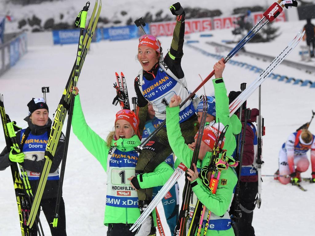 Die deutschen Damen sicherten sich auch in der Staffel Gold