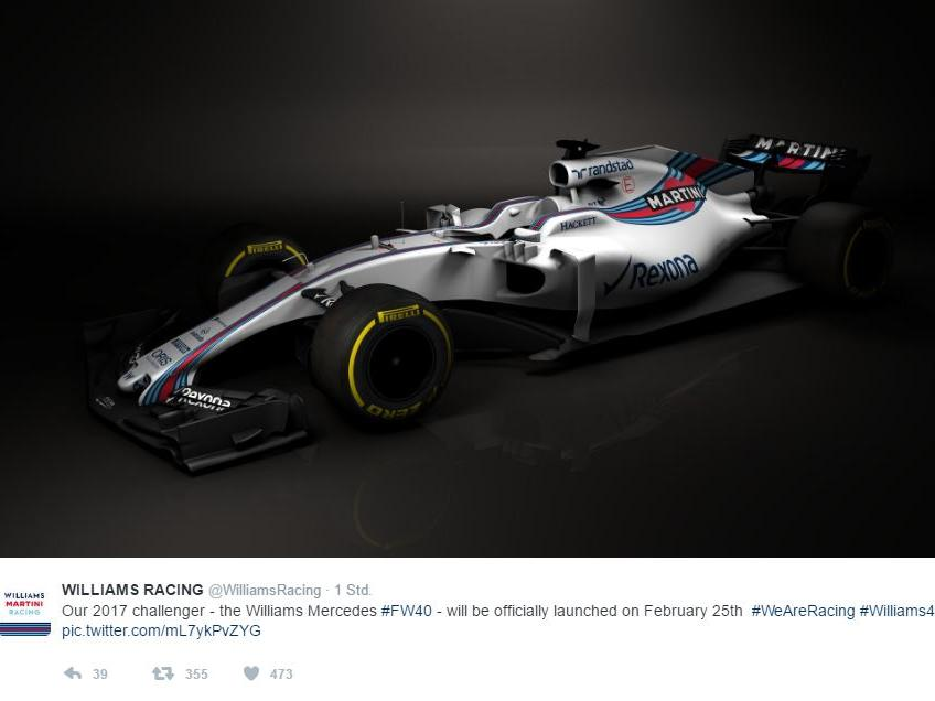 Williams hat den neuen FW40 präsentiert (Quelle: Twitter @WilliamsRacing)