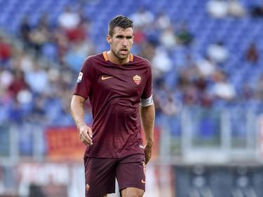 Kevin Strootman is gefocust tijdens het competitieduel AS Roma - Udinese (20-08-2016).