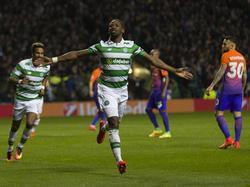 Im CL-Gruppenspiel zwischen Celtic und Manchester City trifft Moussa Dembélé zum zweiten Mal und zum zwischenzeitlichen 3:2 - entsprechend groß ist seiner Freude. (28.09.2016)