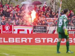Einige Mainzer Fans zündeten Pyrotechnik im DFB-Pokal