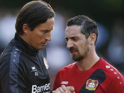 Die Wege von Bayer-Coach Roger Schmidt (l.) und Roberto Hilbert trennen sich wohl