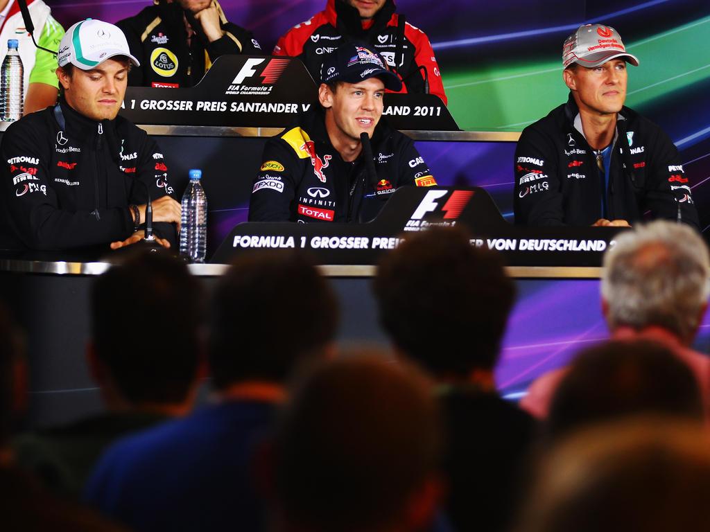 Rosberg, Vettel und Schumacher (v.l.n.r.) wurden in die Hall of Fame aufgenommen