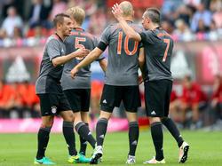 Rafinha, Arjen Robben und Franck Ribéry (v.l.n.r.) spielen bei Bayern München