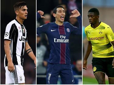 Drei Potenzielle Neymar-Nachfolger: Paulo Dybala, Ángel Di María und Ousmane Dembélé (v.l.n.r.)