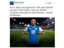 Bielefeld läuft gegen Aue mit einem Sondertrikot auf (Screenshot: Twitter)