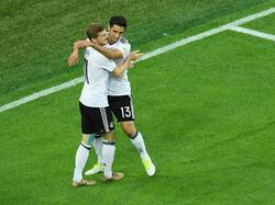 Timo Werner (l.) und Lars Stindl sorgten im DFB-Sturm für Furore