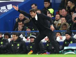 Conte geeft met al zijn passie instructies aan de Blues