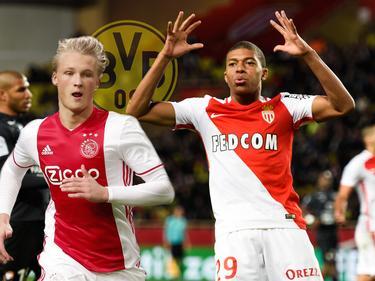 Kasper Dolberg (l.) und Kylian Mbappé (r.) sollen auf der Liste des BVB stehen