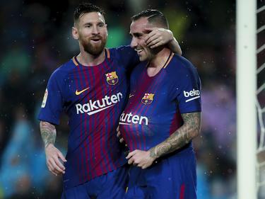 Messi (l.) stand zum 600. Mal für Barcelona auf dem Rasen