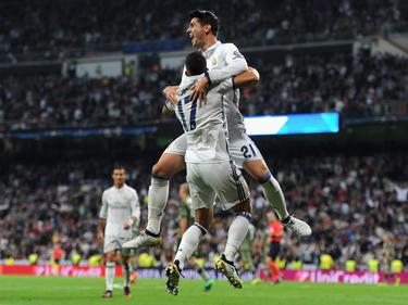 Lucas Vázquez und Morata feiern den Treffer zum 4:1
