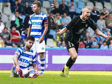 Kristján Emilsson viert de 0-2 tijdens de competitiewedstrijd De Graafschap - NEC Nijmegen. (28-09-2014)
