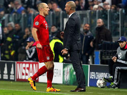 Werden nicht mehr auf dem Platz gemeinsam jubeln: Arjen Robben (l.) und Pep Guardiola