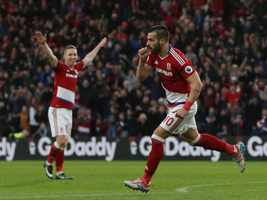 Negredo celebra un tanto con la camiseta del Middlesbrough. (Foto: Getty)