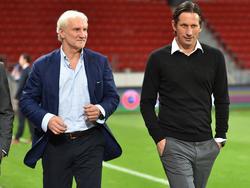 Rudi Völler (l.) ist zufrieden mit der Vorbereitung von Leverkusen
