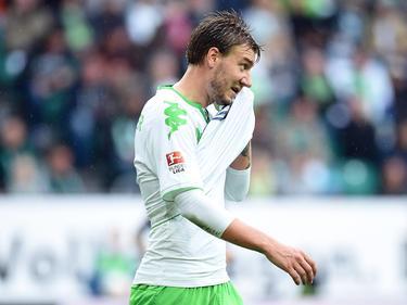 Nicklas Bendtner in het shirt van VfL Wolfsburg tijdens het competitieduel met Hertha BSC. (19-09-2015)