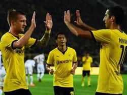 Brachiale Torgefahr für den BVB gegen Odds BK erzielen Marco Reus (li, 3), Shinji Kagawa (mi, 1) und Henrikh Mkhitaryan (1) zusammen fünf Tore beim Kantersieg der Borussia gegen den kleinen Klub Odds BK.