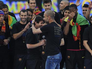 Einst Weggefährten in Barcelona: Lionel Messi (l.) und Pep Guardiola