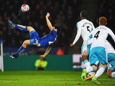 Shinji Okazaki trifft gegen Newcastle United per Fallrückzieher zum siegbringenden 1:0