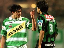 """Michael Hatz und Ivica Vastić beim Meisterschafts-""""Finale"""" zwischen Rapid und Sturm 1996"""