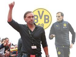 Thomas Doll (l.) lobt BVB-Coach Thomas Tuchel für seine Arbeit
