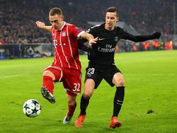 Julian Draxler (re.) hatte es mit PSG gegen Bayern nicht leicht