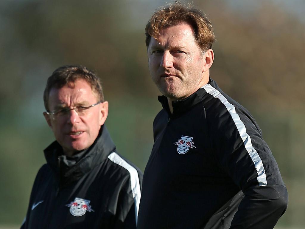 Die RB-Macher Ralf Rangnick (l.) und Ralph Hasenhüttl
