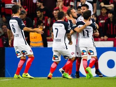 San Lorenzo celebra un tanto en el campo del Atlético PR. (Foto: Getty)