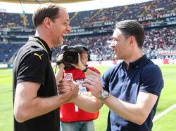 Kovač (r.) lobt BVB-Coach Tuchels Qualitäten
